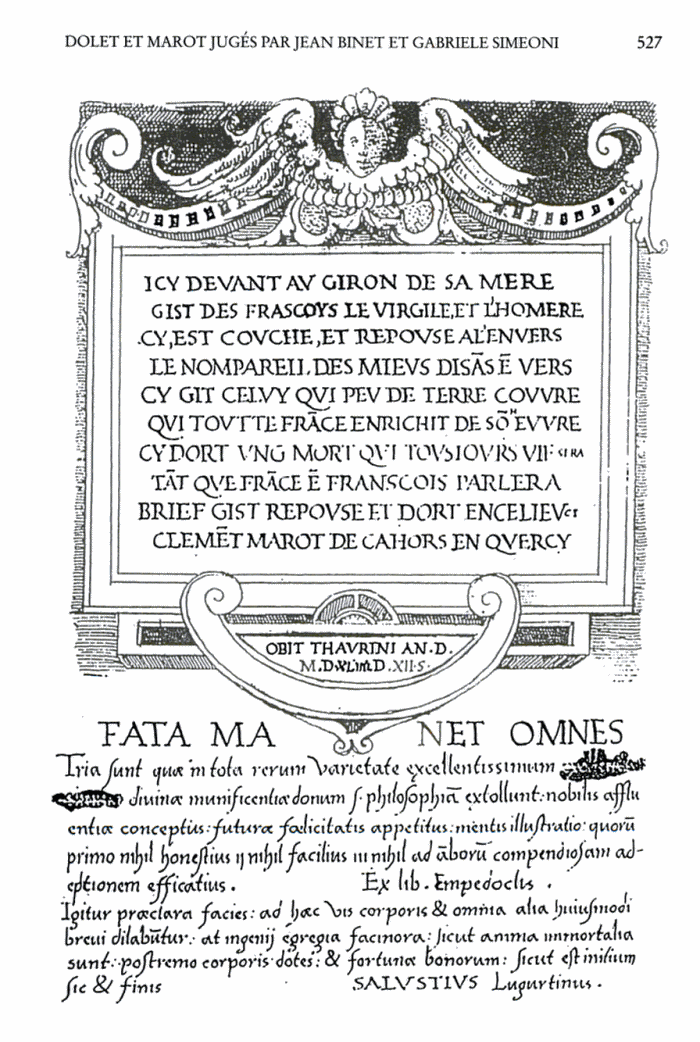page from Audeberts diary with Marots epitaph